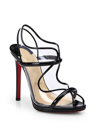 #Christian Louboutin Aqua Ronda Patent Leather Slingback Sandals #Saks.com