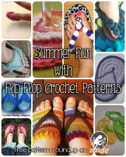 Summer Fun with Flip Flop Crochet Patterns! Embellishments, coasters, baby shoes and more!