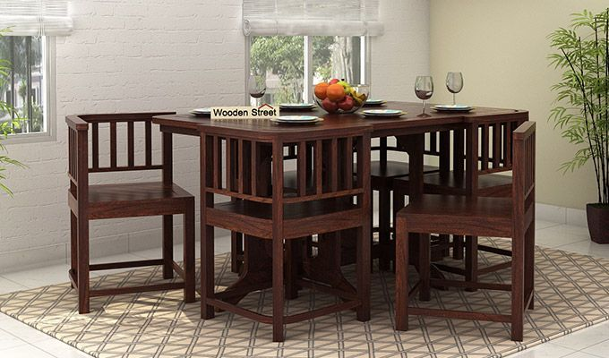 Buy Cohoon 6 Seater Dining Set Walnut Finish Online In India 6