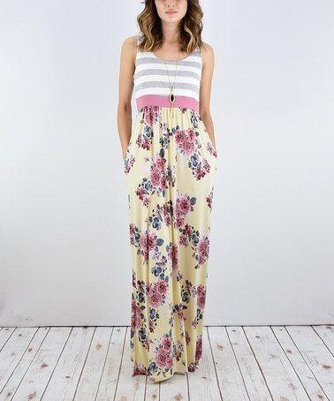 Look at this #zulilyfind! Yellow Floral Stripe Maxi Dress #zulilyfinds