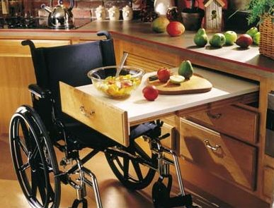 Instead of lowering the counters, can add the little desk/prep area for someone in a wheelchair to be able to help out in the kitchen.