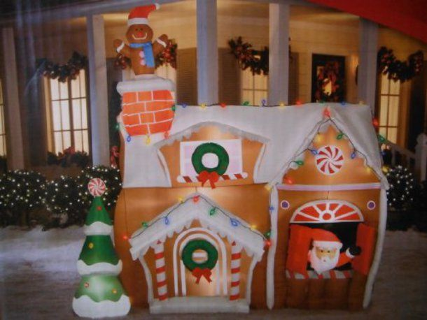 gingerbread house with white lights outdoor