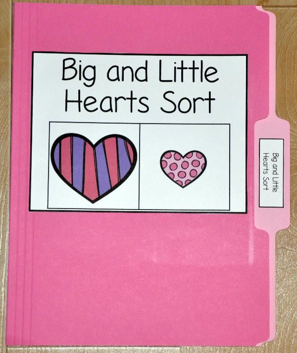 The Big and Little Hearts Sort File Folder Game is a Valentine's Day themed activity.  In this file folder game, students sort cute, patterned hearts by size.