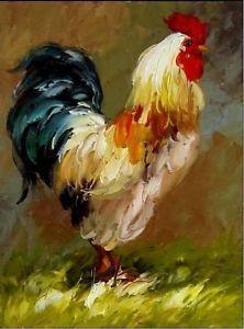 El artista pintado a mano pintura al óleo del arte : resumen animales gallo 1694