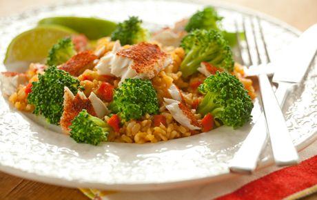 cajun tilapia with broccoli and brown rice  190 calories.  2 grams fat.  22g carbs. 20 g protein