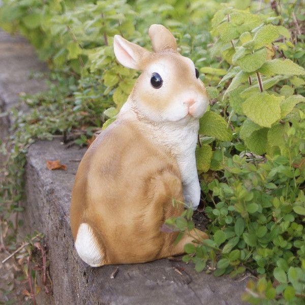 茶色うさぎA (ウサギのハンナ)  ガーデンオーナメント (置物 オーナメント 庭 かわいい 動物 オブジェ)|niwazakka