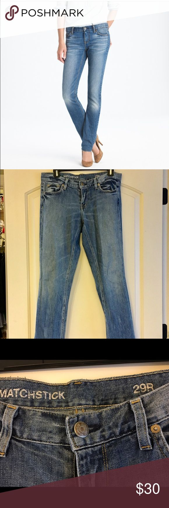 Jcrew Matchstick Jeans If  straight without being skintight is your thing, then our matchstick jean is for you. It's also crafted in premium Turkish denim that's not too rigid, thanks to a little bit of stretch for added comfort. Sits above hip.Fitted through hip and thigh with a straight leg J. Crew Jeans Straight Leg