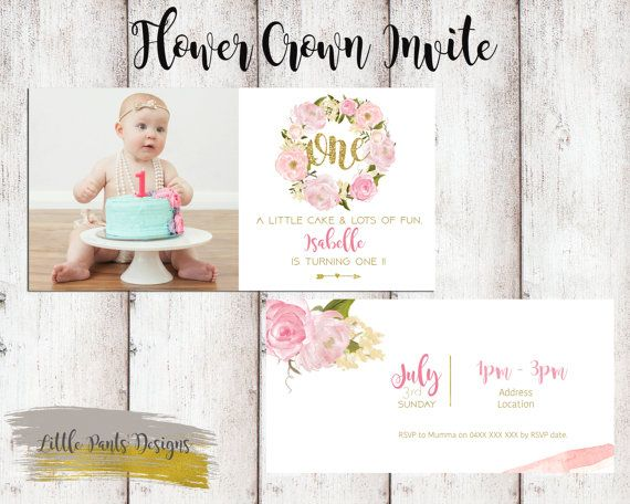 Flower Crown Wreath Birthday Invite for by LittlePantsDesigns