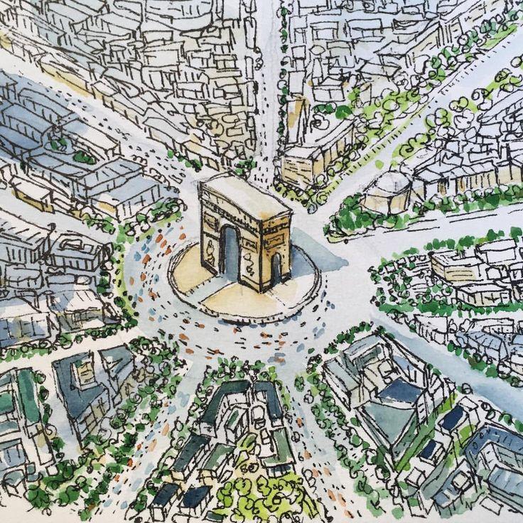kibangkok:  Hello Paris #france #sketching #fountainpen #drawing #watercolor