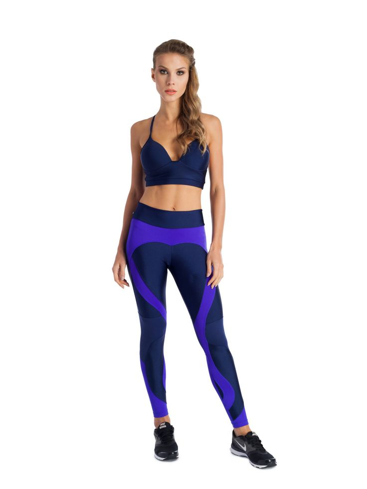 From Brazil 'Love Heart' ankle length leggings in blues. Made from a multifunctional technological sport fabric offering great design, support