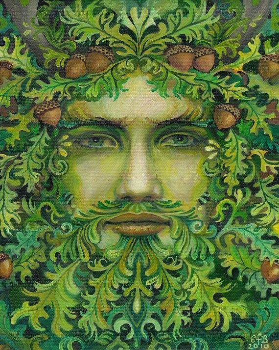 Oak King Green Man Pagan God Summer Solstice 16x20 Poster Print Mythological Goddess Art Pagan Art