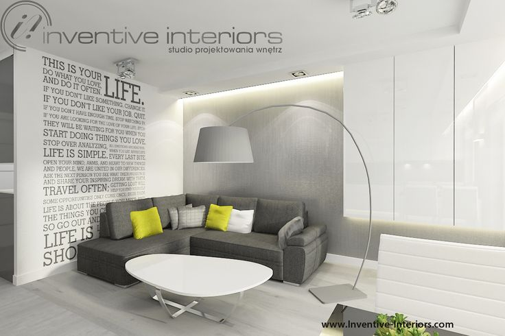 Projekt salonu Inventive Interiors - szara tapeta i szary narożnik w salonie