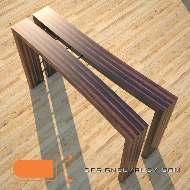 Wooden Console Table, Striped, Solid Wood Design