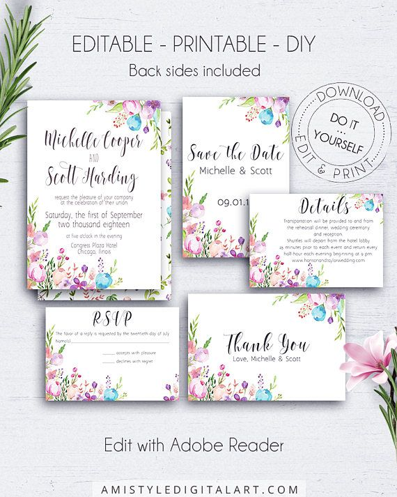 Floral wedding suite with unique and colorful watercolor flowers.This floral wedding invitation set is for an instant download EDITABLE PDF pack so you can download it right away, DIY edit and print it at home or at your local copy shop by Amistyle Digital Art on Etsy