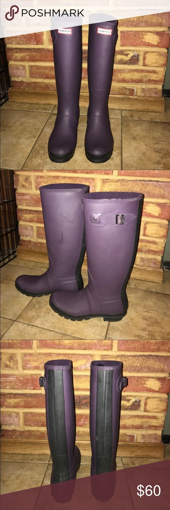 WOMENS HUNTER BOOTS Women's hunter rain boot, size 8 US, matte purple with a matte black stripe down the middle. (Love them, but they are a little bit too big) Hunter Boots Shoes Winter & Rain Boots