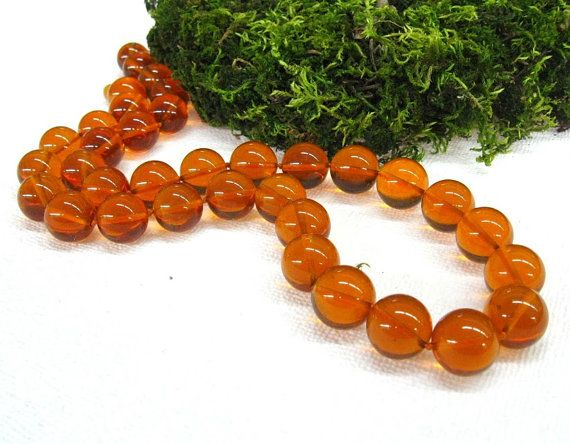Baltic Amber stone necklace Large round bead necklaces by SanaGem
