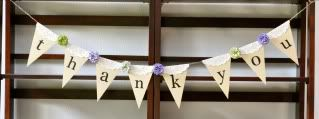 Little Birdie Secrets: burlap and paper wedding banners {tutorial} Thank you for the gift table