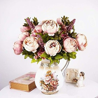 1 Bouquet Artificial Peony Peonies Flowers 8 Heads Silk Flower Wedding Home Party Decor European Style Large 5001596 2017 – $9.45