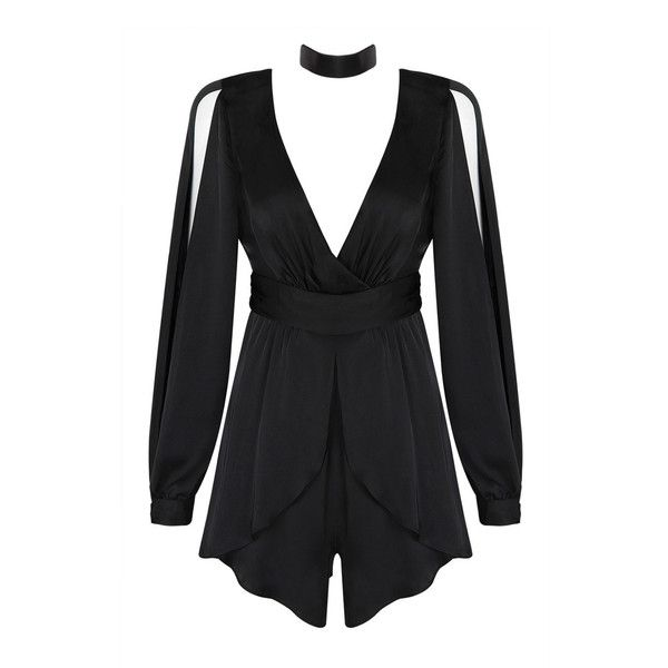 Honey couture alyssa black long sleeve choker playsuit ($159) ❤ liked on Polyvore featuring jumpsuits, rompers, playsuit romper, sexy rompers, tie-dye rompers, long sleeve romper and sexy romper