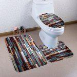 3 Pcs Brick Wall Pattern Flannel Bath Mat Toilet Mat - Red Brown