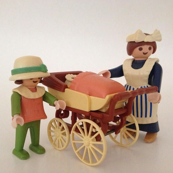 Vintage Playmobil Victorian nanny and children figurine toy