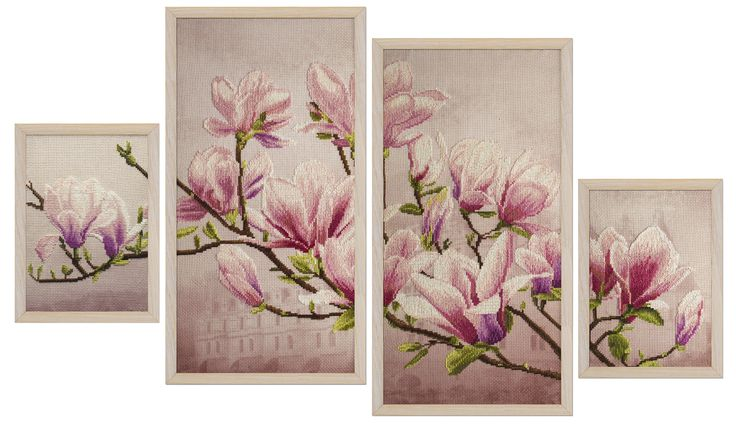 СВ6550 Saucer magnolia. Cross stitch kits with canvas with printed