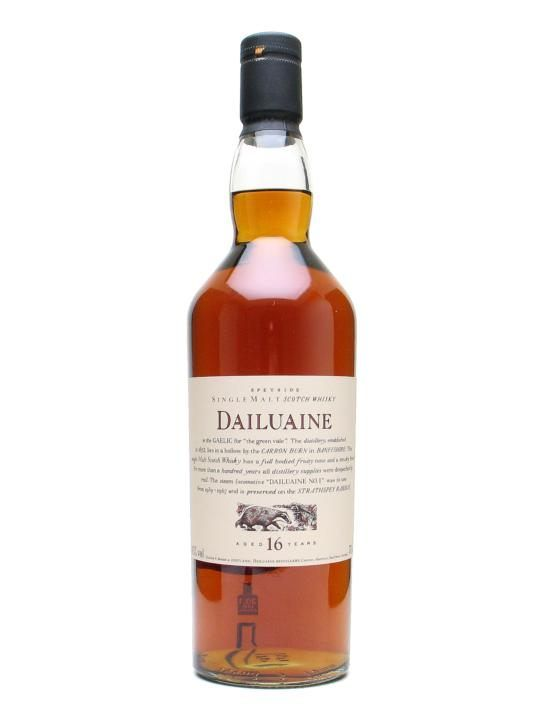 Dailuaine, Speyside. A delicious Scotch from a rather obscure distillery. Big, rich, sweet and smoky, with a very smooth mouthfeel and plenty of fruits and spices.