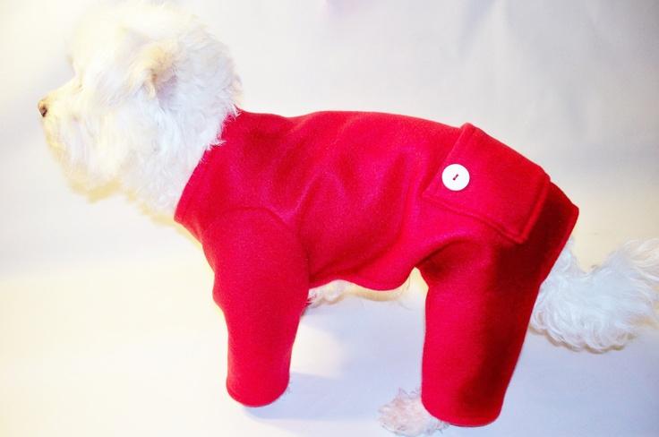 Dog Pajamas Red Fleece Trapdoor Longjohns Pajamas Dog Pjs. $24.00, via Etsy.