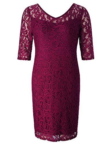 acb0470caa5 Chicwe  Women Plus Size Stretch Guipure Lace Dress - Party  Wedding  Cocktail Dress Wine Red 1X