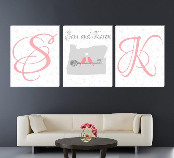 Unique Housewarming gift Canvas set of 3, Anniversary gift canvas set with state and love birds,Perfect Wedding Gift,Unique Anniversary Gift