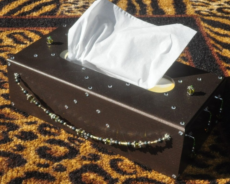 Crystal and beads adorn this Kleenex box cover. Something I made for fun, just to see how it would come out.