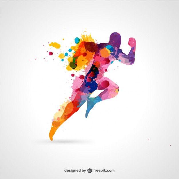 Ejecución de hombre vector libre del color splash