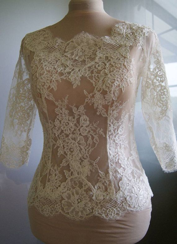 Amazing wedding bolero-top-jacket with lace sleeve 3/4 by TIFFARY