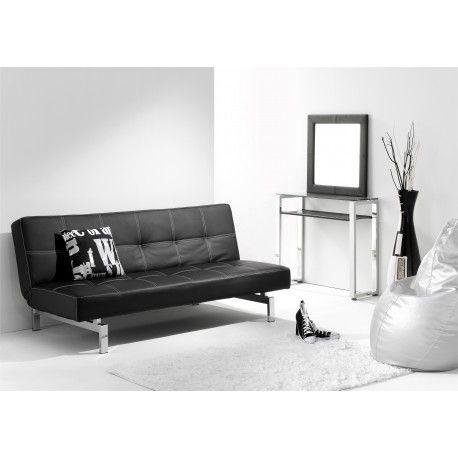 Sofa Cama Libro modelo Chic con sus líneas simples y modernas en varios colores disponibles tapizado en semi piel y con unas patas cromadas convertible en cama de 105 cms.