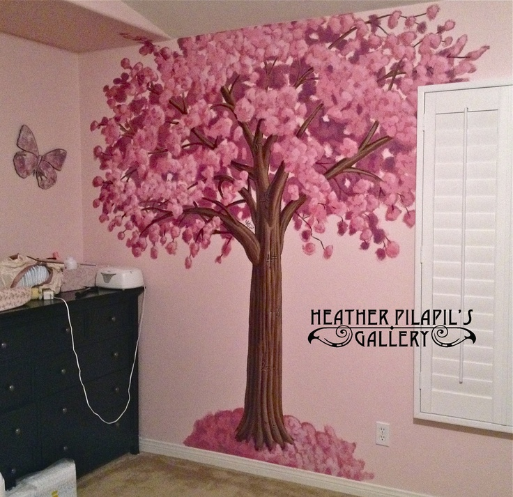 Cherry blossom tree mural with growth chart by heather for Cherry tree mural