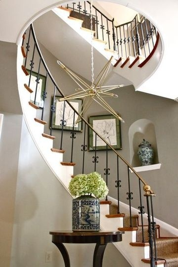 curved staircase staircases and foyers on pinterest. Black Bedroom Furniture Sets. Home Design Ideas