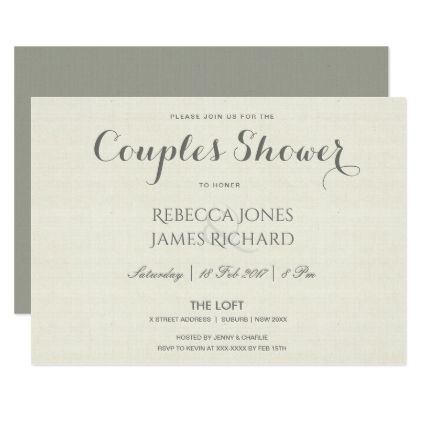 SIMPLE ELEGANT  GREY TYPOGRAPHY COUPLES SHOWER CARD - invitations personalize custom special event invitation idea style party card cards