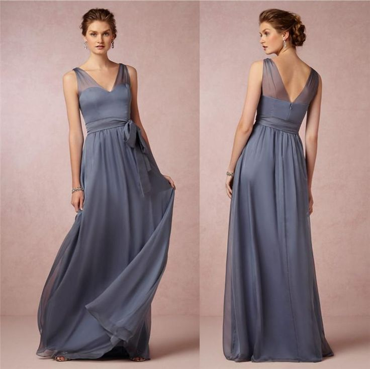 V Neck Ruched Strapless Long Ice Blue 2012 Bridesmaid