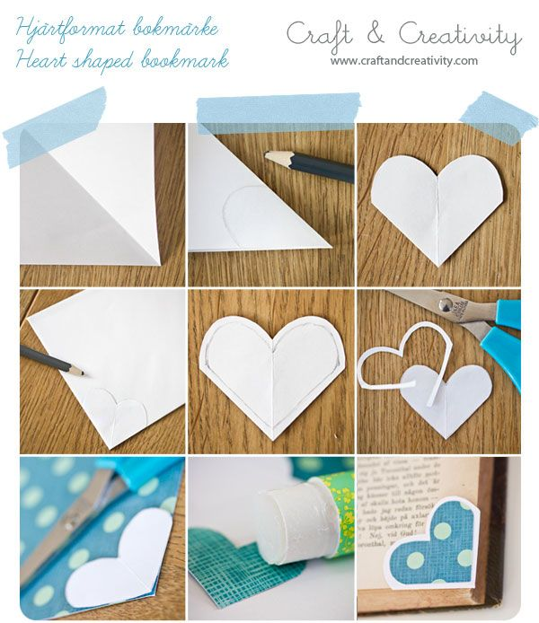 How to make heart-shaped bookmarks.  You will need: Envelope (why not reuse old envelopes?), a sheet of white paper (for the template), a pencil, scissors, glue and a patterned paper.