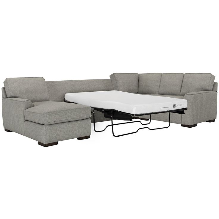 Austin Gray Fabric Left Chaise Memory Foam Sleeper Sectional