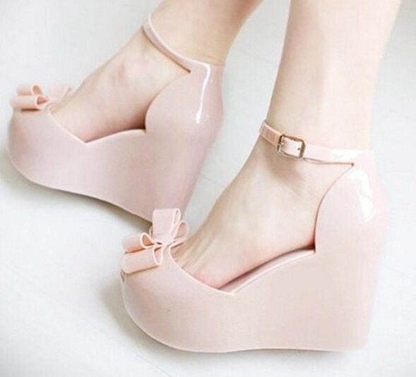 Women'S Jelly Sandals Fish Mouth Platform Shoes Summer Plastic Wedge Shoes Y303