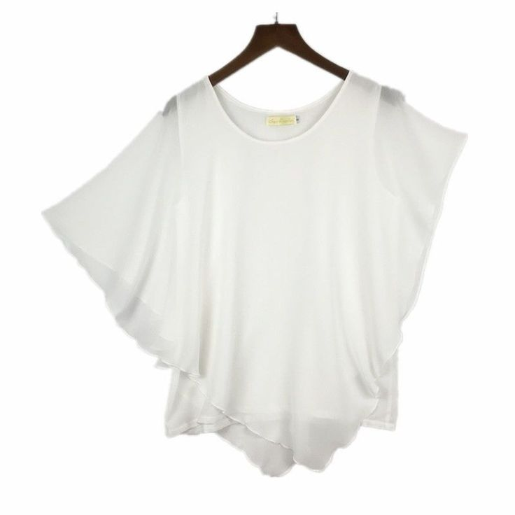 Plus size S-6XL Ladies Chiffon Blouses Batwing Asymmetric Sleeves White Shirt #Unbranded #Blouse #Casual