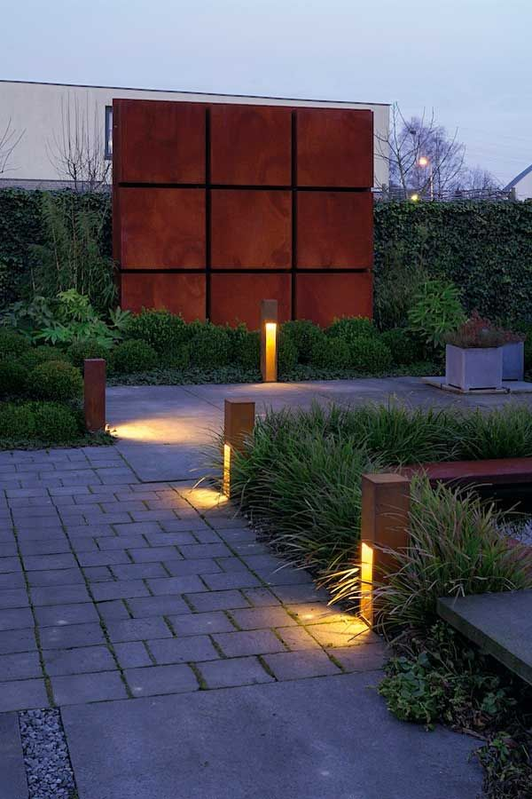 Outdoor Lighting Ideas Rusty Slot Exterior Bollard Is Made Of Steel Available In A Rusty Iron Finish Available