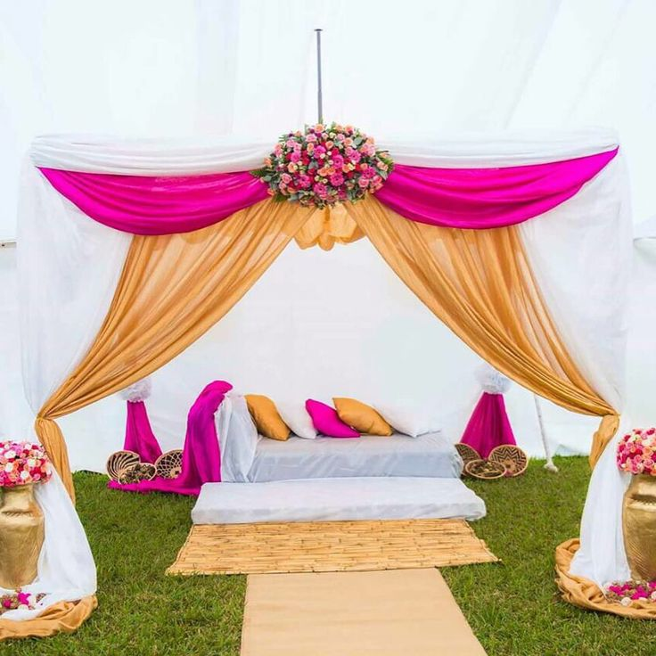 Kitchen Party,Party Ideas. Bridal tent idea with fresh flowers. fushia gold  and white traditional wedding decor