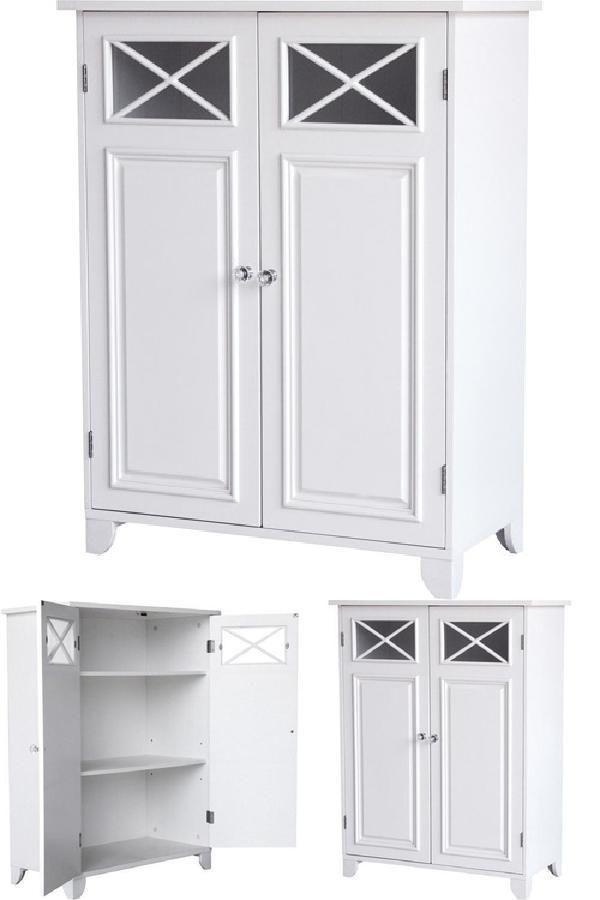 Bathroom 3 Shelf Floor Cabinet Double Door White Eleganthomefashions Wooden Bathroom Floor Bathroom Floor Storage Cabinet Wooden Bathroom