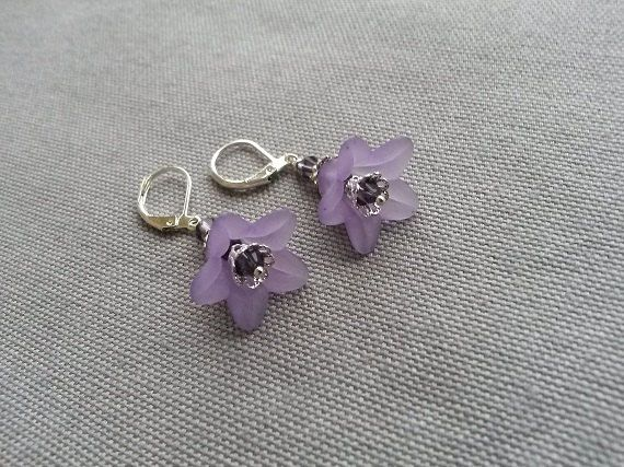 Dangle fairytale earrings with lucite flowers in by IMKdesign