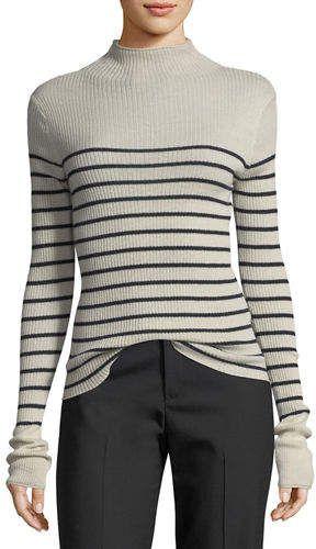 4fca1f014dea Vince Striped Mock-Neck Cashmere Sweater   Products   Cashmere ...