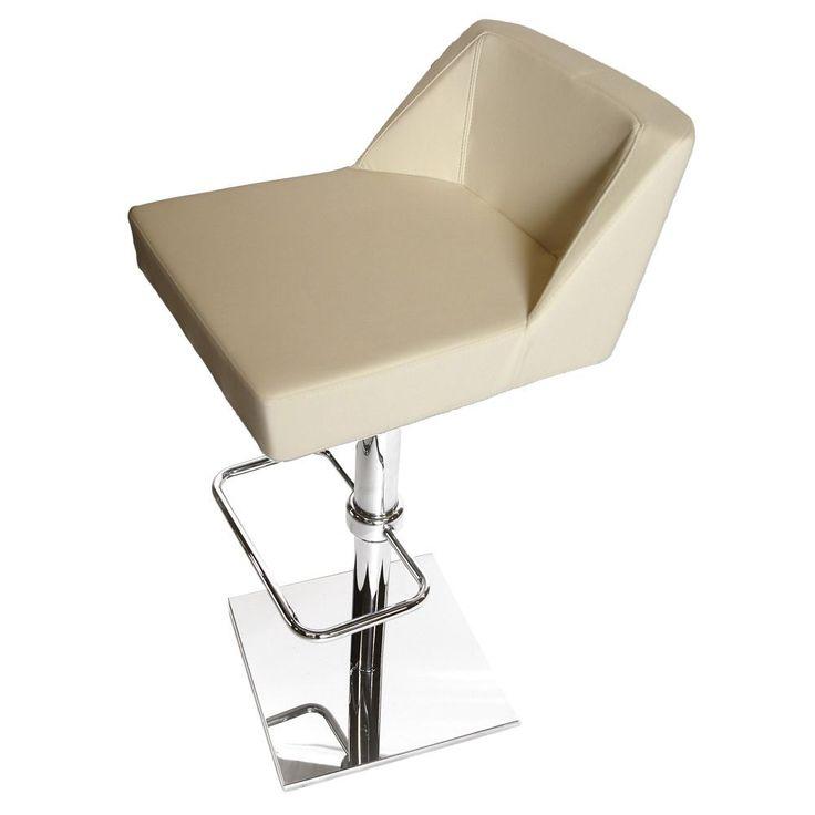 Oss Cream (Ivory) Bar Stool (Oss Cream Contemporary Bar Stool) (Bonded Leather)