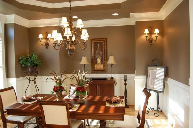 Dining Room Paint Colors : Elgant Brown Dining Room Color Concept