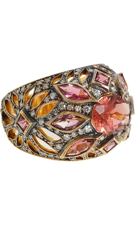 Cathy Waterman Pink Tourmaline & Diamond Ring.